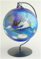 Blue Glass Orb and stand