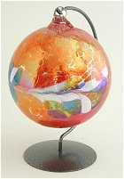 Orange Glass Orb and stand